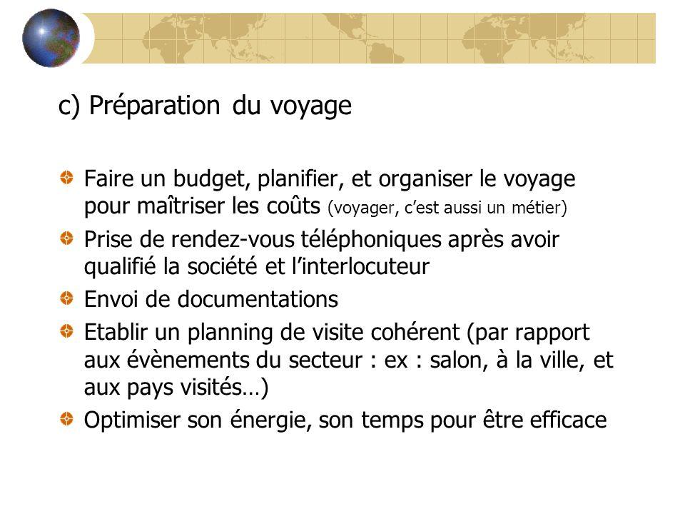 c) Préparation du voyage