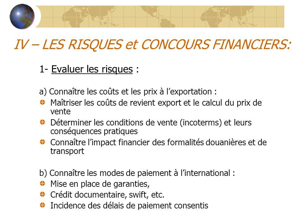 IV – LES RISQUES et CONCOURS FINANCIERS: