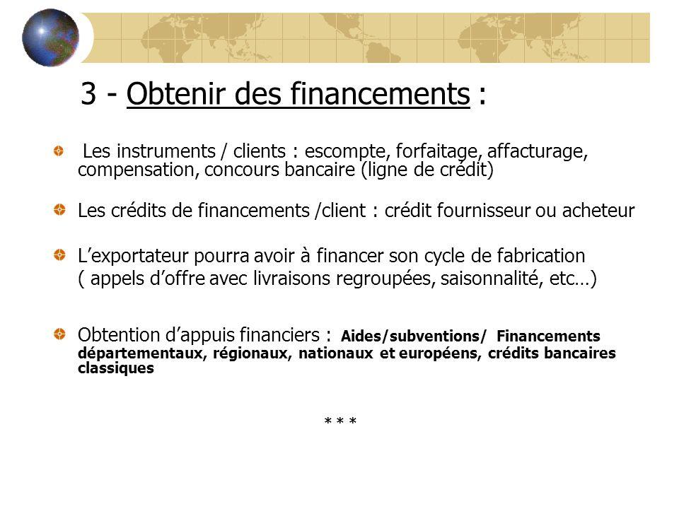 3 - Obtenir des financements :