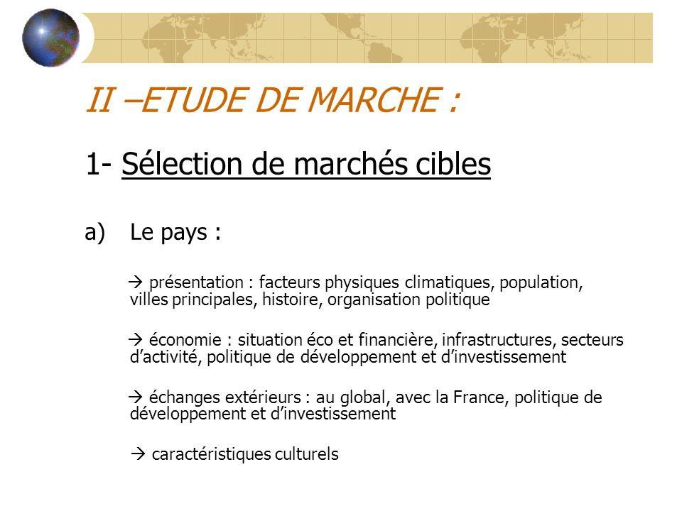 II –ETUDE DE MARCHE : 1- Sélection de marchés cibles Le pays :