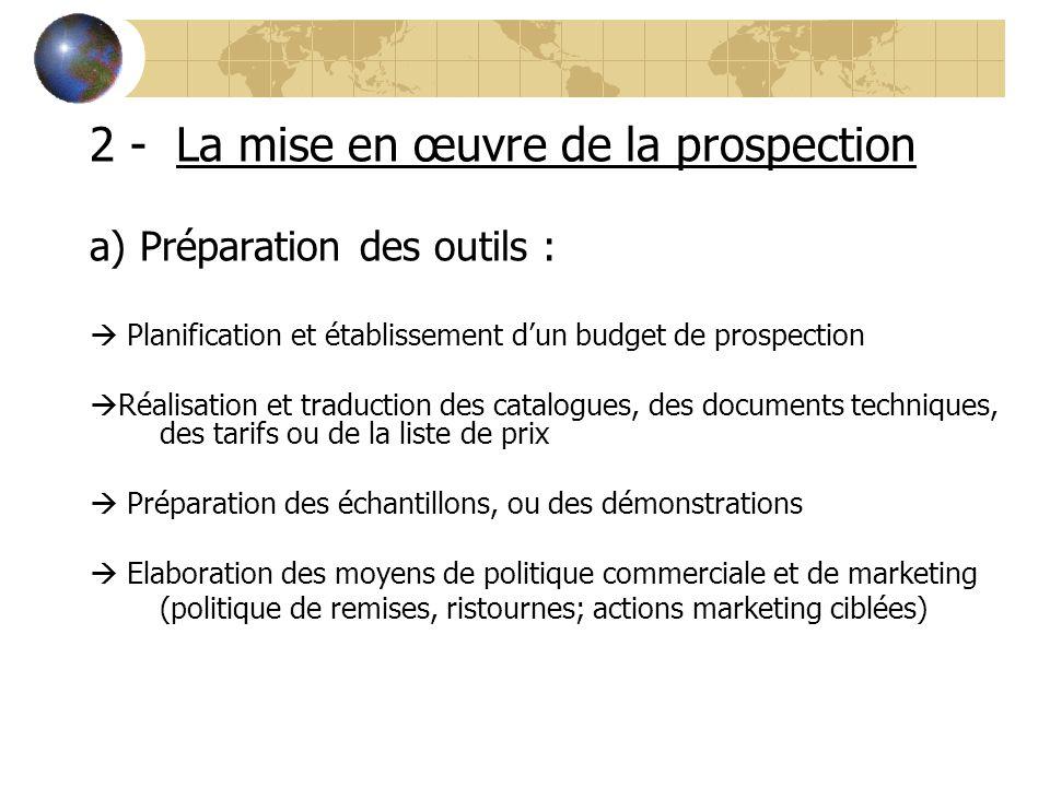 2 - La mise en œuvre de la prospection