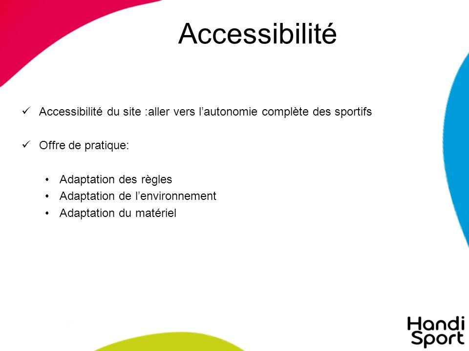 Accessibilité Accessibilité du site :aller vers l'autonomie complète des sportifs. Offre de pratique: