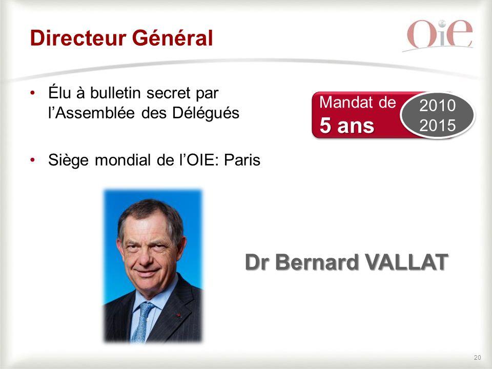 Directeur Général 5 ans Dr Bernard VALLAT