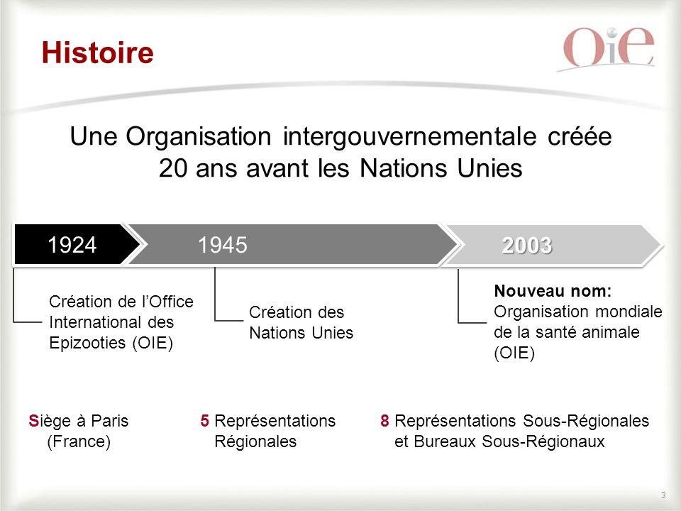 Histoire Une Organisation intergouvernementale créée 20 ans avant les Nations Unies. 1924. 1945.