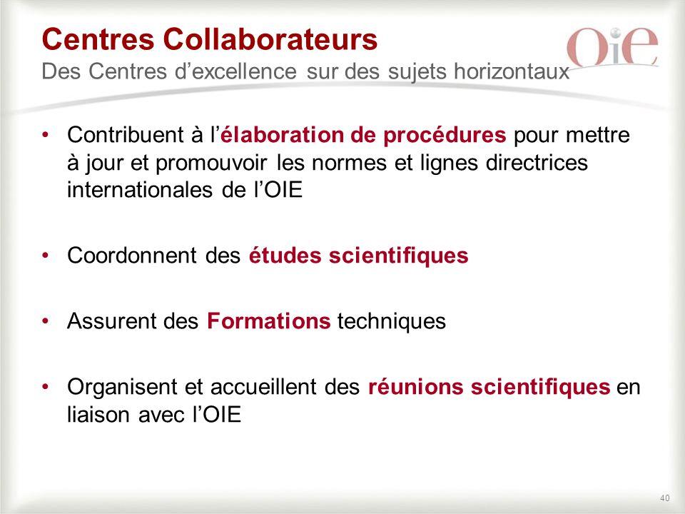 Centres Collaborateurs Des Centres d'excellence sur des sujets horizontaux