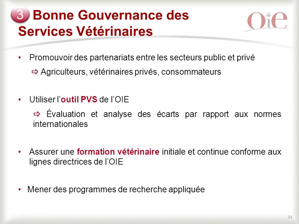 Bonne Gouvernance des Services Vétérinaires