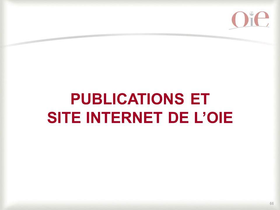 PUBLICATIONS ET SITE INTERNET DE L'OIE