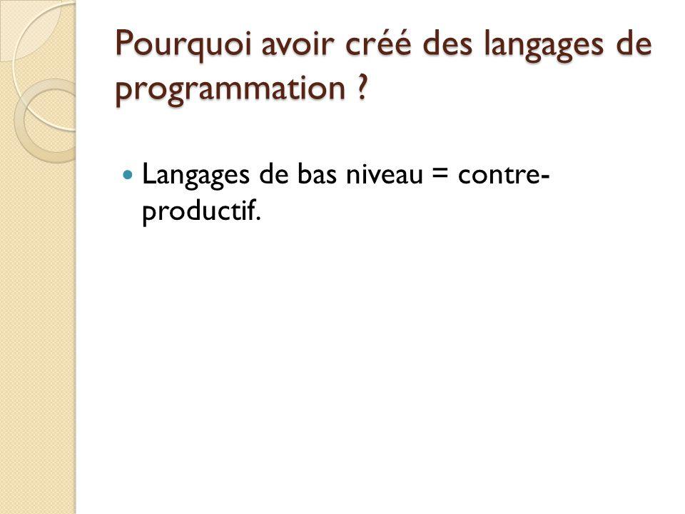 Pourquoi avoir créé des langages de programmation