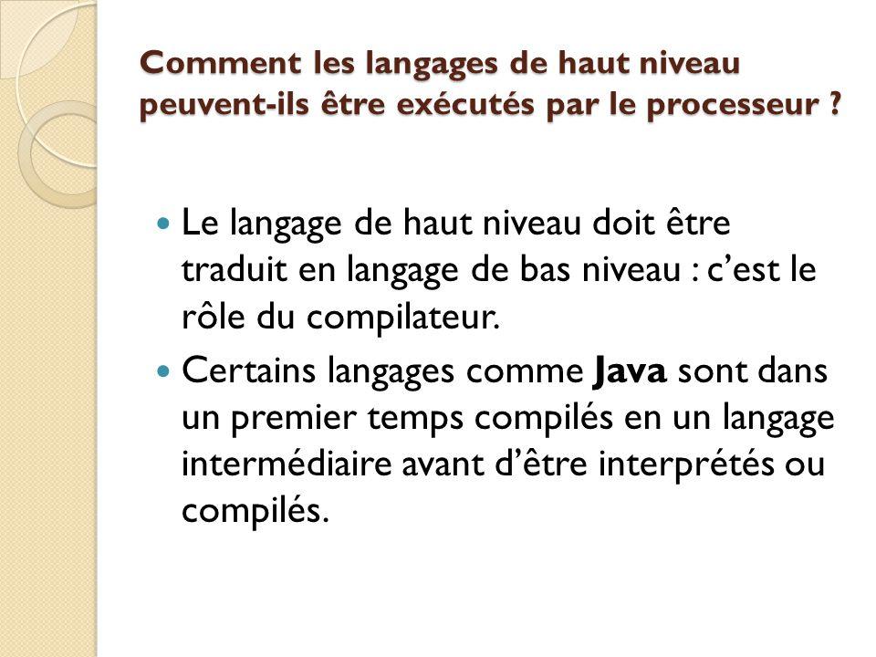 Comment les langages de haut niveau peuvent-ils être exécutés par le processeur