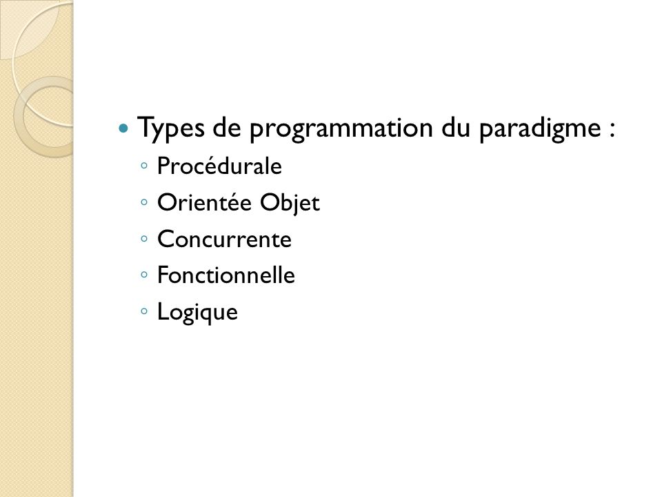 Types de programmation du paradigme :