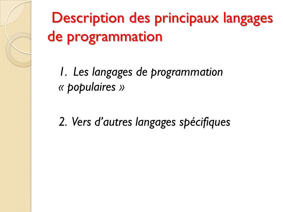 Description des principaux langages de programmation