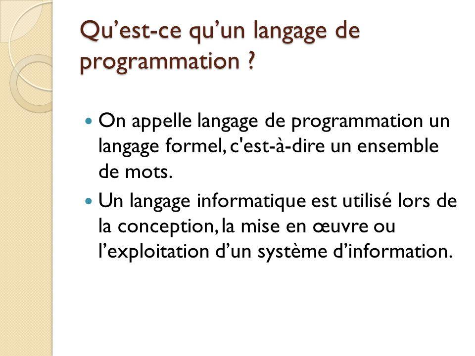Qu'est-ce qu'un langage de programmation