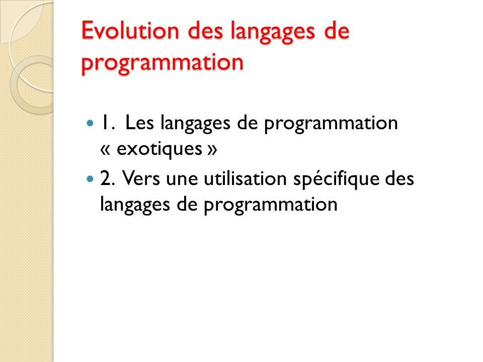 Evolution des langages de programmation