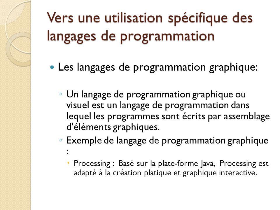 Vers une utilisation spécifique des langages de programmation