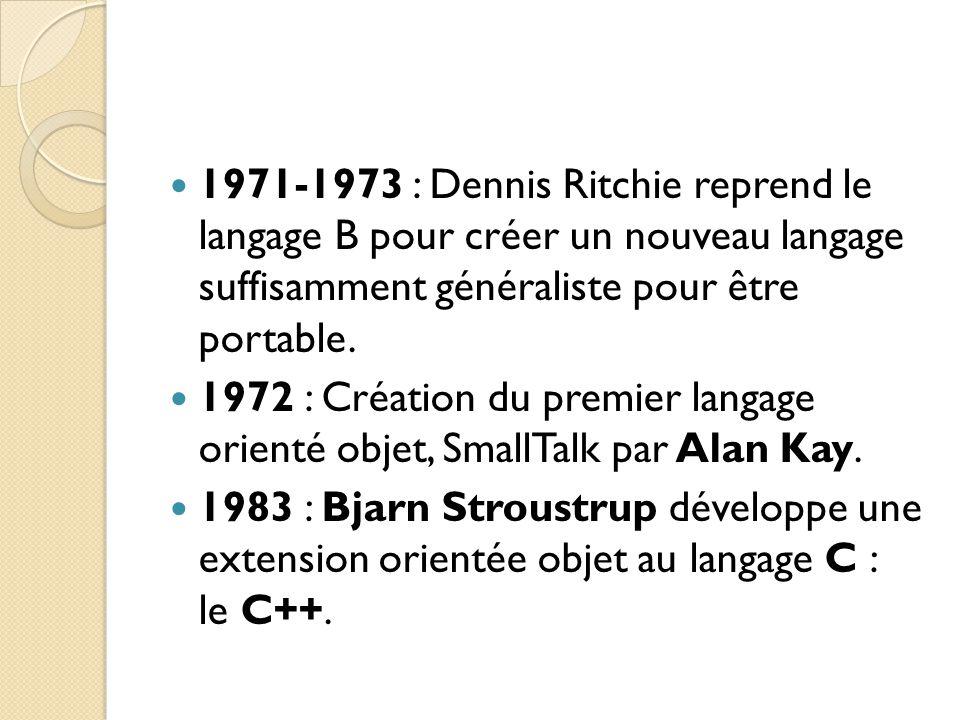 1971-1973 : Dennis Ritchie reprend le langage B pour créer un nouveau langage suffisamment généraliste pour être portable.