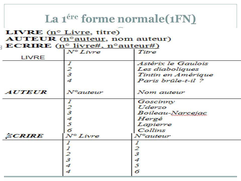 La 1ére forme normale(1FN)