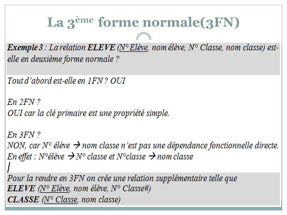 La 3ème forme normale(3FN)