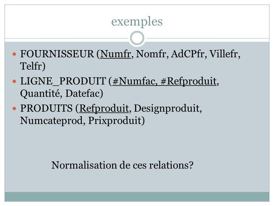 exemples FOURNISSEUR (Numfr, Nomfr, AdCPfr, Villefr, Telfr)