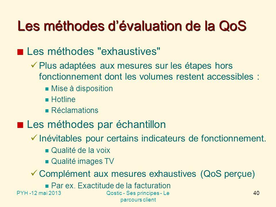Deux catégories d'évaluation de la QoS