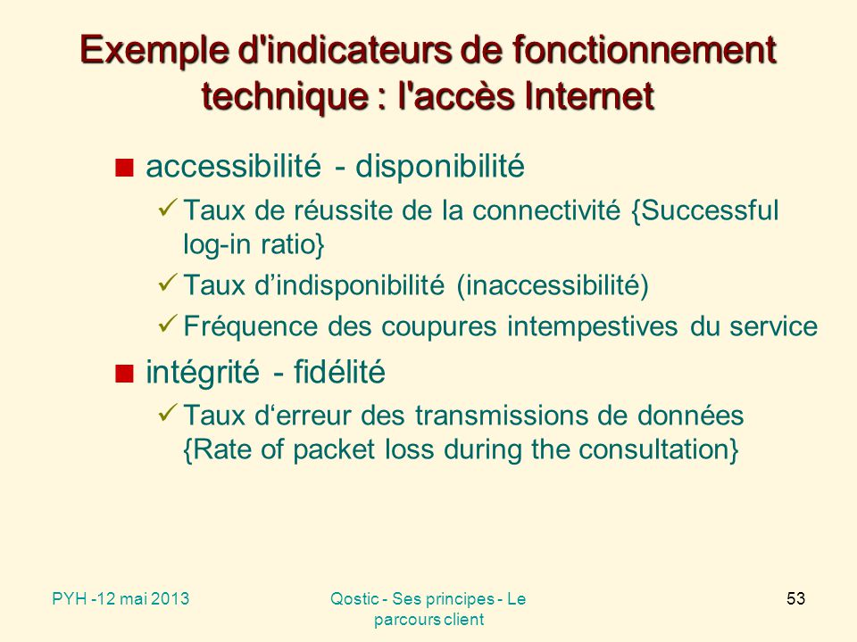 Exemple d indicateurs de fonctionnement technique : l accès Internet
