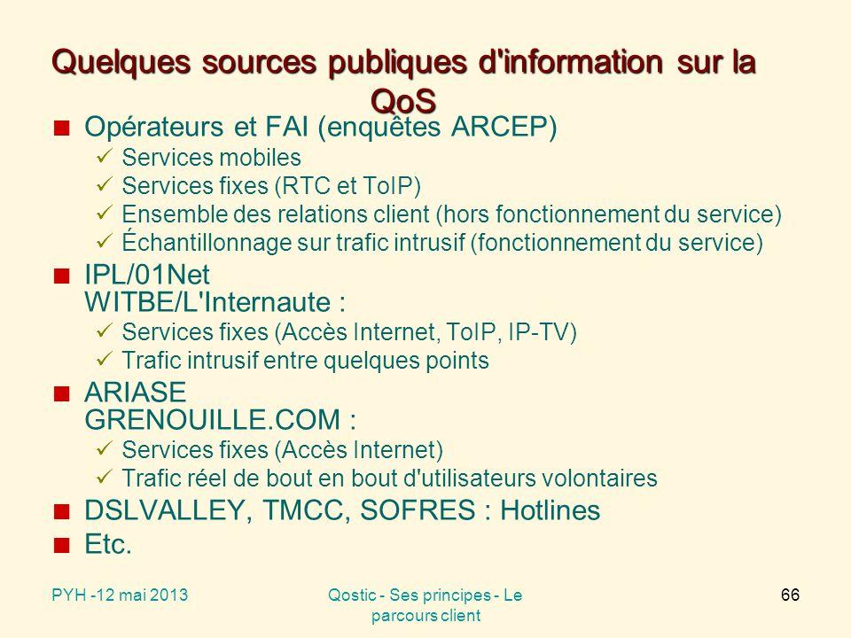 Quelques sources publiques d information sur la QoS