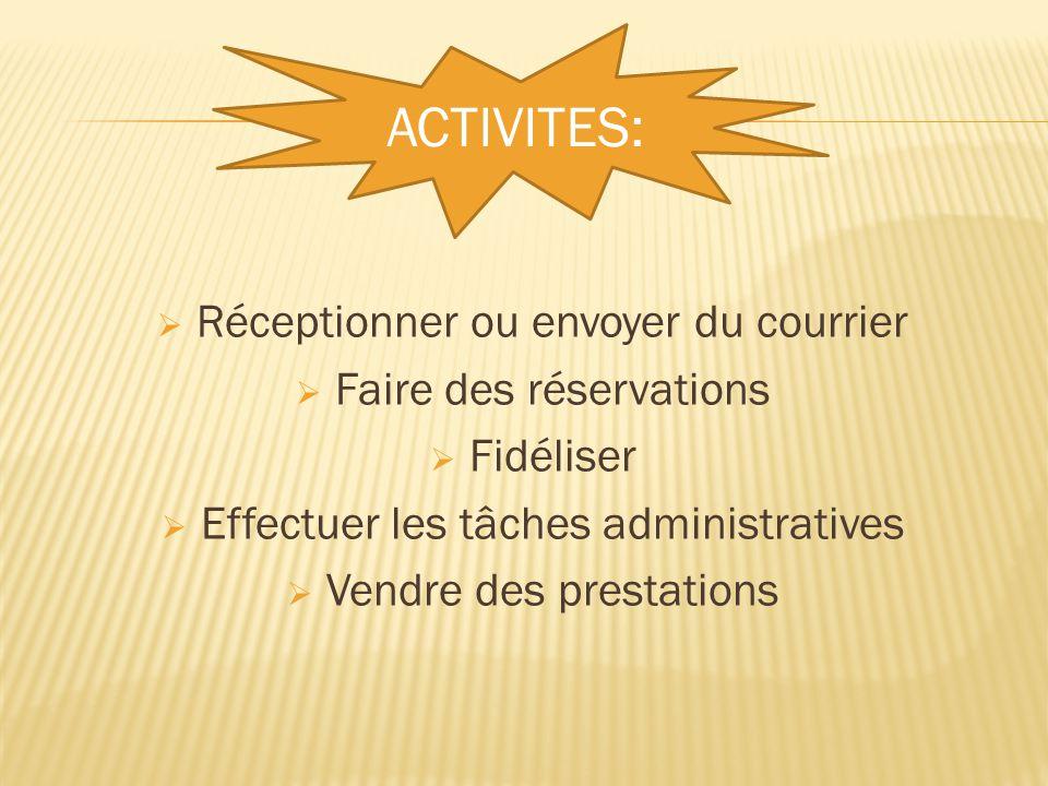 ACTIVITES: Réceptionner ou envoyer du courrier Faire des réservations