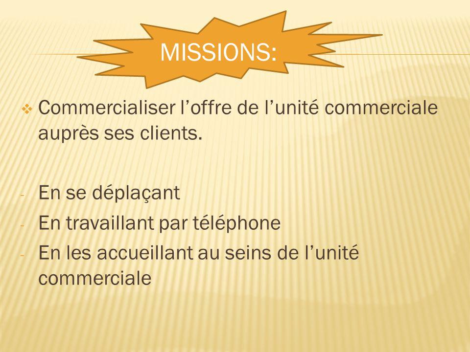 MISSIONS: Commercialiser l'offre de l'unité commerciale auprès ses clients. En se déplaçant. En travaillant par téléphone.
