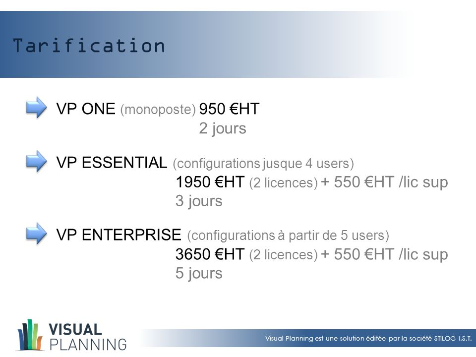 Tarification VP ONE (monoposte) 950 €HT 2 jours