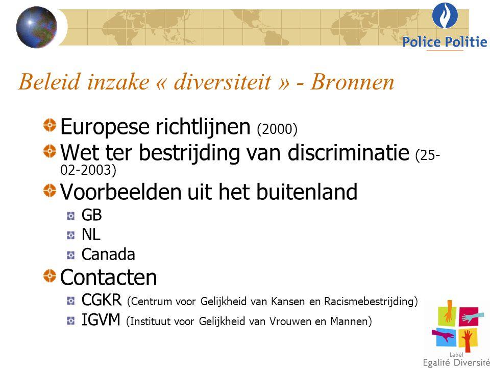 Beleid inzake « diversiteit » - Bronnen