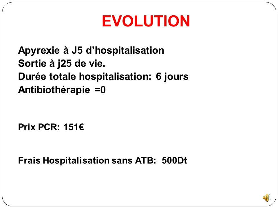 EVOLUTION Apyrexie à J5 d'hospitalisation Sortie à j25 de vie.