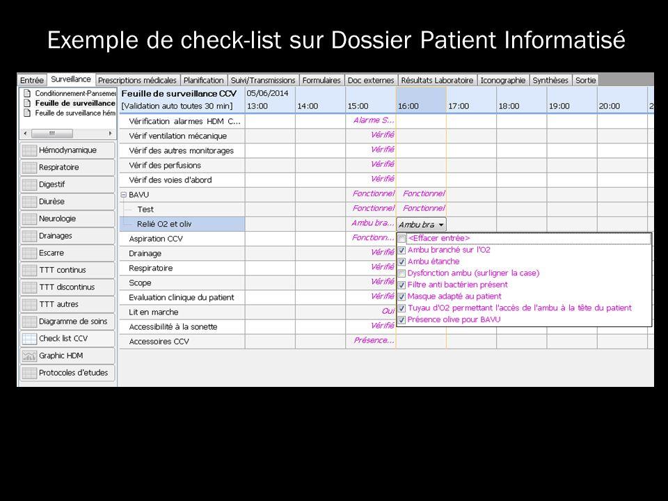 Exemple de check-list sur Dossier Patient Informatisé