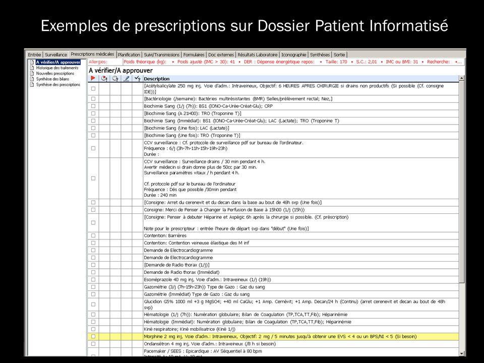 Exemples de prescriptions sur Dossier Patient Informatisé