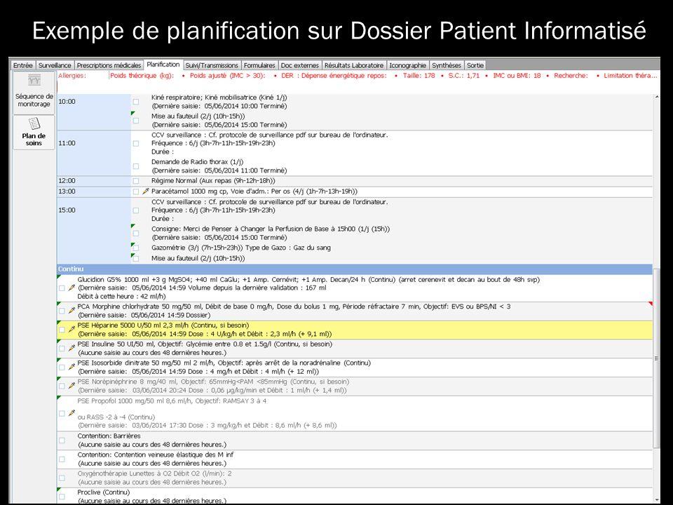 Exemple de planification sur Dossier Patient Informatisé