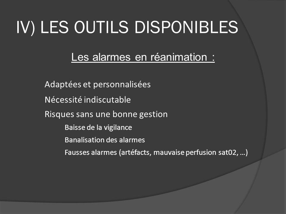 IV) LES OUTILS DISPONIBLES