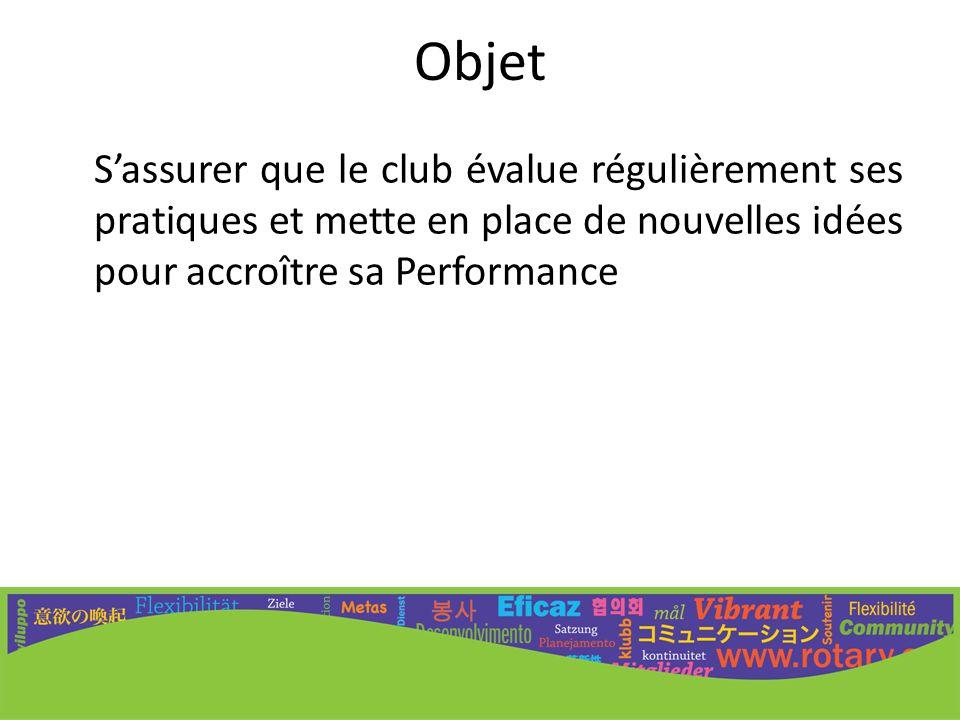 Objet S'assurer que le club évalue régulièrement ses pratiques et mette en place de nouvelles idées pour accroître sa Performance.