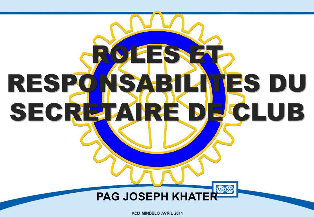 ROLES ET RESPONSABILITES DU SECRETAIRE dE club