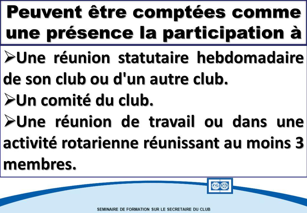 Une réunion statutaire hebdomadaire de son club ou d un autre club.