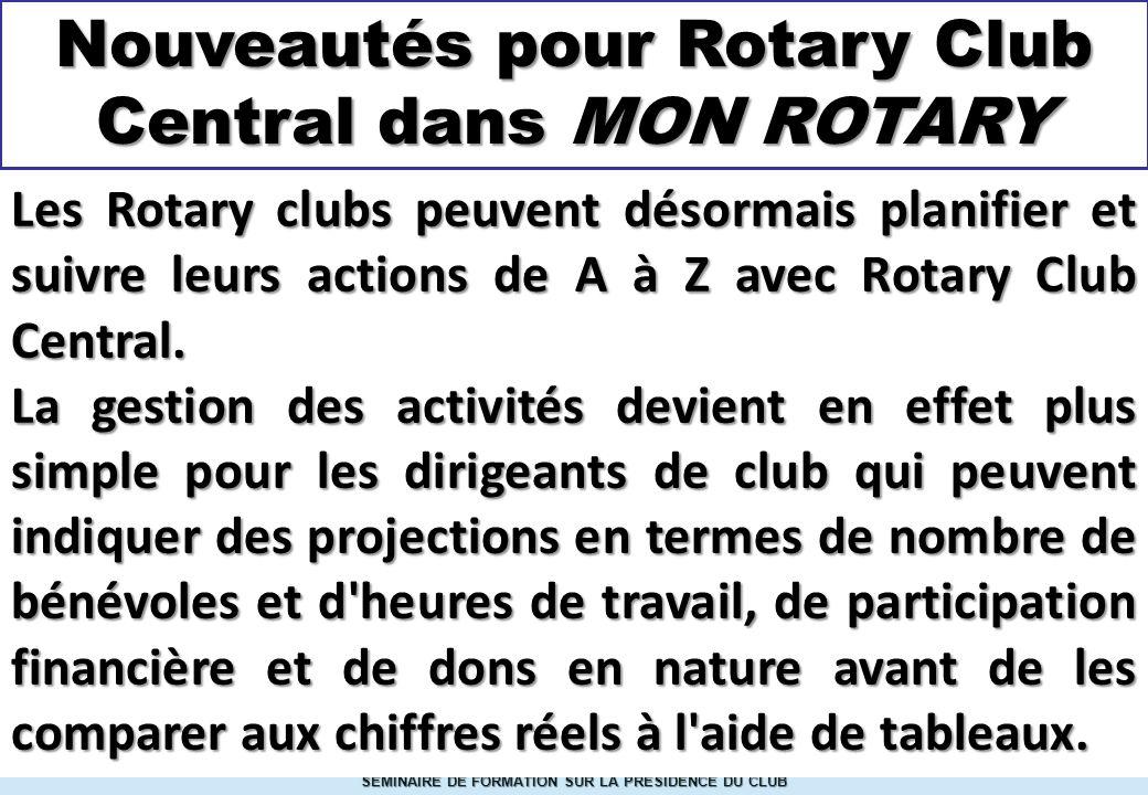 Nouveautés pour Rotary Club Central dans MON ROTARY