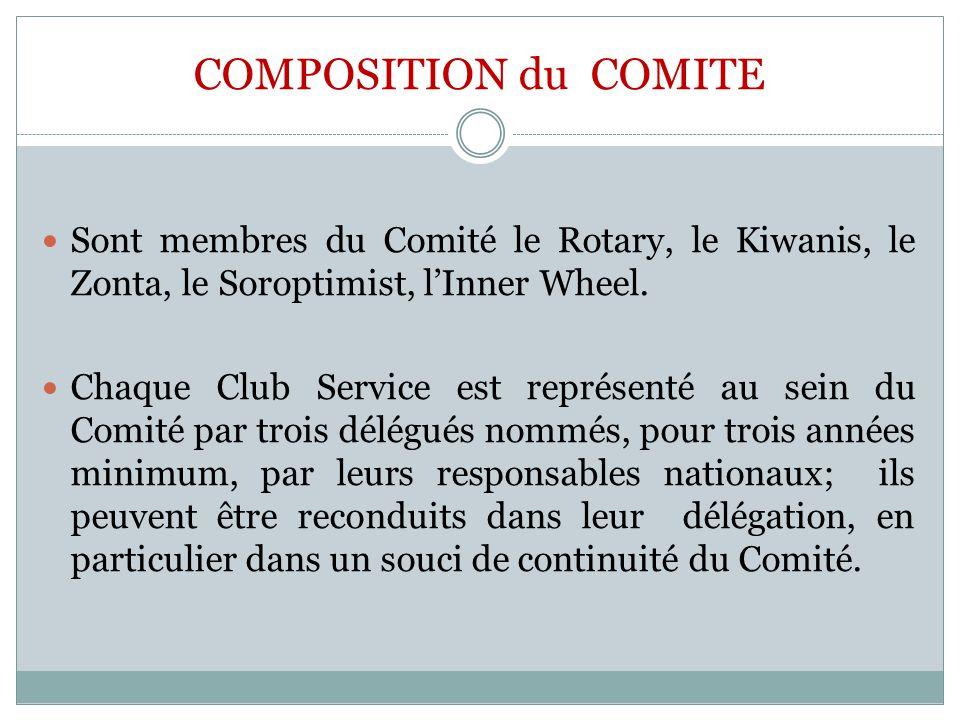 COMPOSITION du COMITE Sont membres du Comité le Rotary, le Kiwanis, le Zonta, le Soroptimist, l'Inner Wheel.