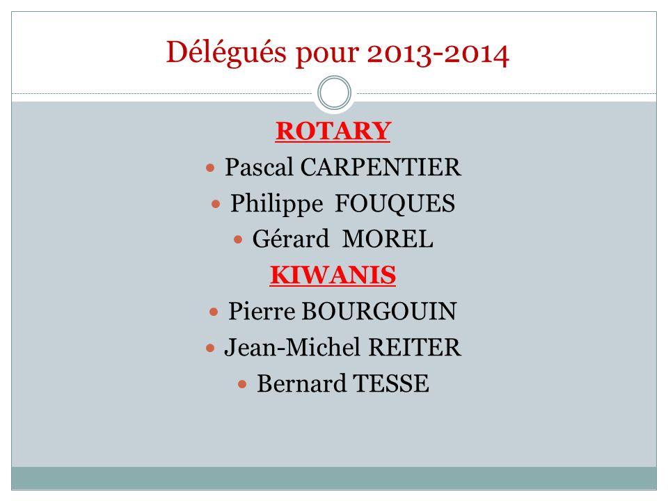 Délégués pour 2013-2014 ROTARY Pascal CARPENTIER Philippe FOUQUES