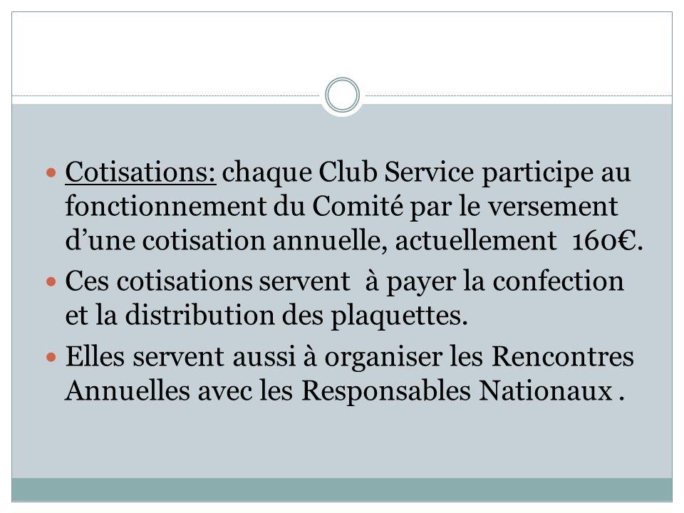 Cotisations: chaque Club Service participe au fonctionnement du Comité par le versement d'une cotisation annuelle, actuellement 160€.