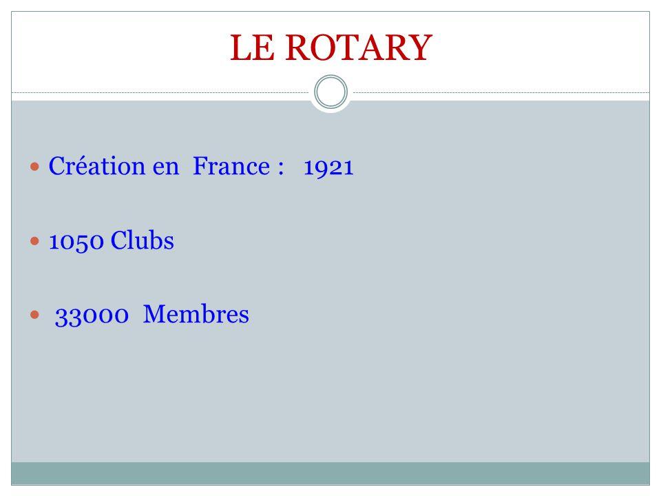 LE ROTARY Création en France : 1921 1050 Clubs 33000 Membres