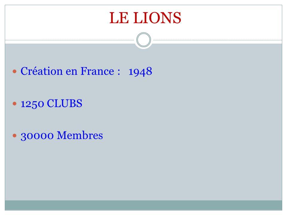 LE LIONS Création en France : 1948 1250 CLUBS 30000 Membres