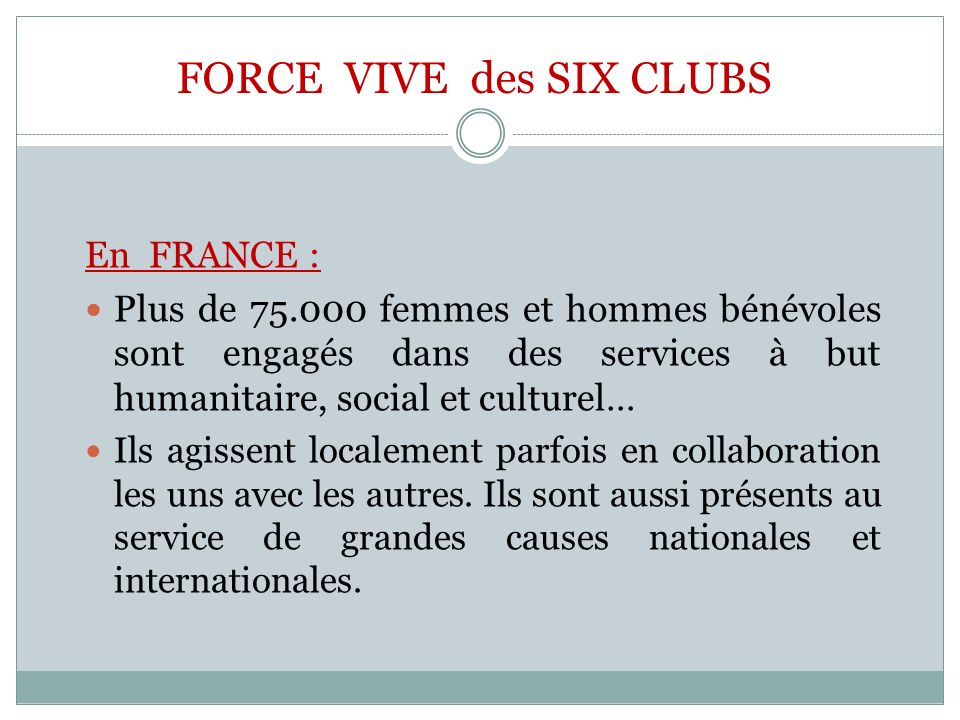 FORCE VIVE des SIX CLUBS