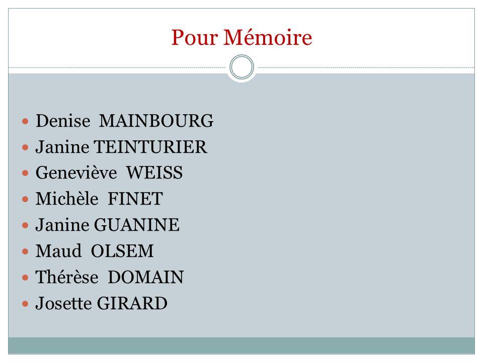 Pour Mémoire Denise MAINBOURG Janine TEINTURIER Geneviève WEISS