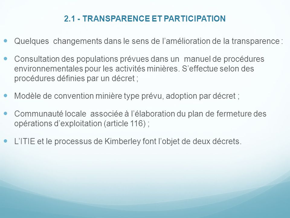 2.1 - TRANSPARENCE ET PARTICIPATION