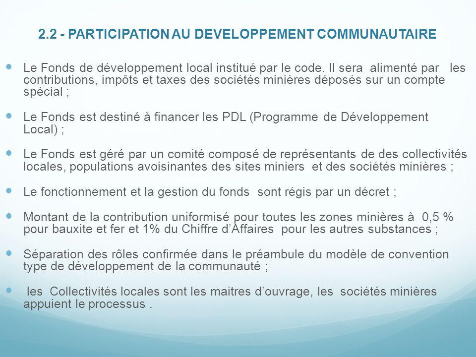 2.2 - PARTICIPATION AU DEVELOPPEMENT COMMUNAUTAIRE