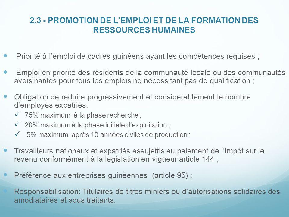 2.3 - PROMOTION DE L'EMPLOI ET DE LA FORMATION DES RESSOURCES HUMAINES