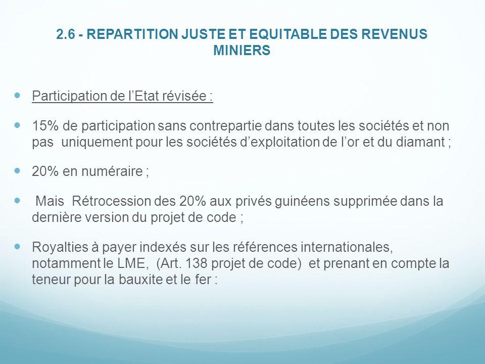2.6 - REPARTITION JUSTE ET EQUITABLE DES REVENUS MINIERS