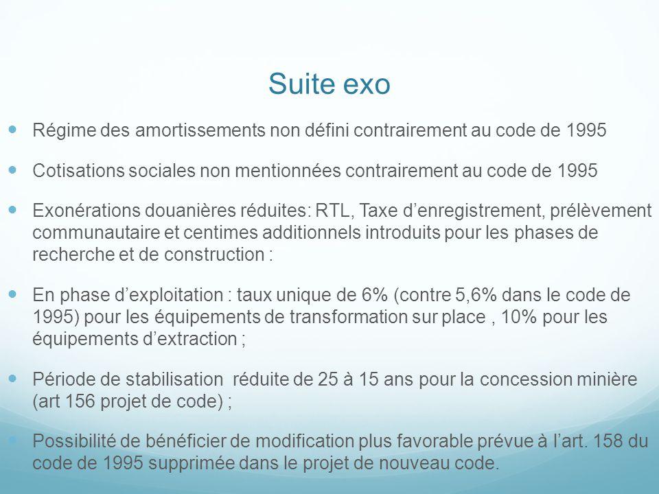Suite exo Régime des amortissements non défini contrairement au code de 1995. Cotisations sociales non mentionnées contrairement au code de 1995.